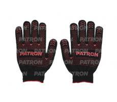 Перчатки трикотажные с ПВХ покрытием Patron (черные) пара